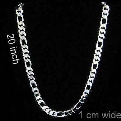 "10 mm Sterling Silver Figaro Chain 20"" long"
