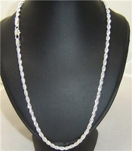 4mm Diamond Cut Sterling Silver Rope Necklace