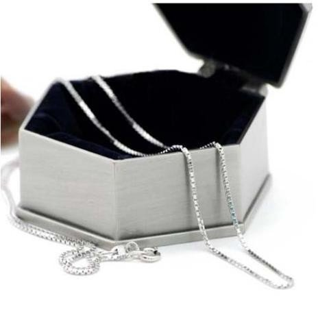 """1mm sterling silver 20"""" box chain"""