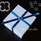 50 BUTTERFLY Diamante Rhinestone Crystal Silver Buckle Sliders For Wedding Invitation BK079