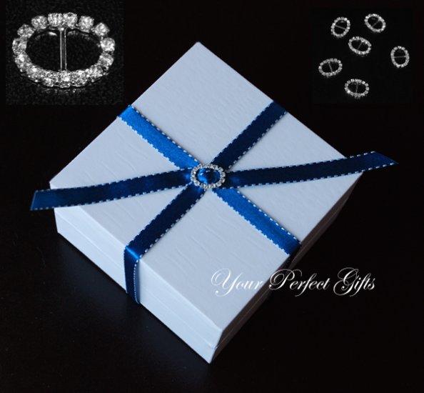24 OVAL Silver Diamante Rhinestone Crystal Buckle Sliders For Wedding Invitation BK051