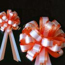 "10 ORANGE WHITE 8"" TWO LAYER WEDDING PULL PEW BOWS FOR BRIDAL CAKE GIFT BASKET DECORCATION PB038"