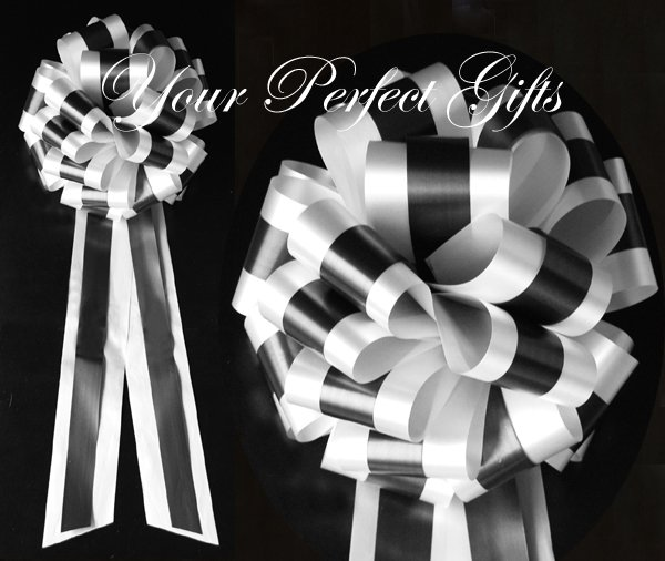 "10 WHITE BLACK  TWO LAYER 9"" EXTRA WIDE WEDDING PULL PEW BOW BRIDAL CAKE GIFT  BASKET DECORCATION"