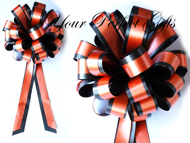 "10 ORANGE BLACK 8"" TWO LAYER WEDDING PULL PEW BOWS FOR BRIDAL CAKE GIFT BASKET DECORCATION"