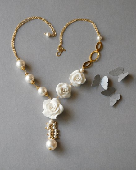 14K Gold Filled Swarovski Cystal Pearl & Hand Sculpted White Rose Wedding Necklace