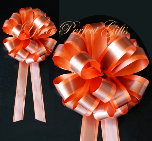 """10 ORANGE BROWN 8"""" TWO LAYER WEDDING PULL PEW BOWS FOR BRIDAL CAKE GIFT BASKET DECORCATION"""