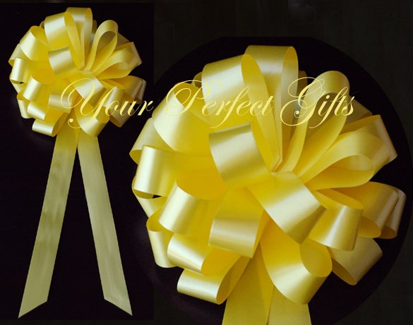 "10 LEMON YELLOW 8"" WEDDING PULL PEW BOWS FOR BRIDAL CAKE GIFT BASKET DECORCATION PB042"