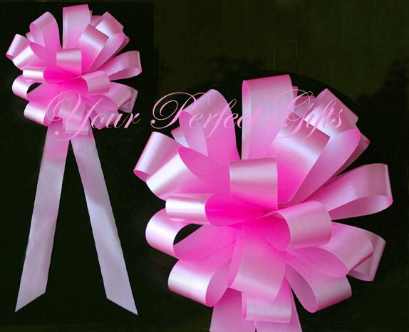 """10 CANDY PINK 8"""" WEDDING PULL PEW BOWS FOR BRIDAL CAKE GIFT BASKET DECORCATION PB030"""