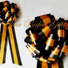 "10 LIGHT ORANGE BLACK  TWO LAYER 9"" EXTRA WIDE WEDDING PULL PEW BOW BRIDAL GIFT  BASKET DECORCATION"