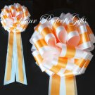 "10 TANGERINE ORANGE WHITE  TWO LAYER 9"" EXTRA WIDE WEDDING PULL PEW BOW BRIDAL BASKET DECORCATION"
