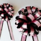 "10 BABY PINK BLACK 8"" TWO LAYER WEDDING PULL PEW BOWS FOR BRIDAL CAKE GIFT BASKET DECORCATION"