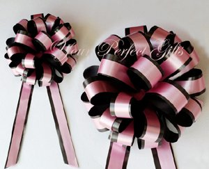 """10 BABY PINK BLACK 8"""" TWO LAYER WEDDING PULL PEW BOWS FOR BRIDAL CAKE GIFT BASKET DECORCATION"""