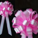 "10 CANDY PINK WHITE 8"" TWO LAYER WEDDING PULL PEW BOWS FOR BRIDAL CAKE GIFT BASKET DECORCATION PB050"