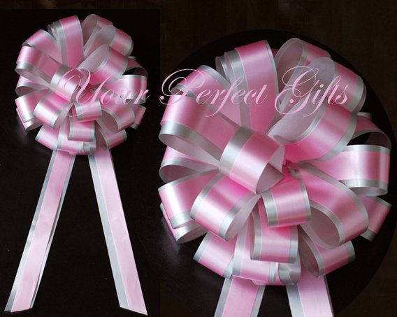 """10 BABY PINK SILVER 8"""" TWO LAYER WEDDING PULL PEW BOWS FOR BRIDAL CAKE GIFT BASKET DECORCATION"""