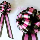 "10 BLACK PINK TWO LAYER 9"" EXTRA WIDE WEDDING PULL PEW BOWS FOR BRIDAL CAKE GIFT BASKET DECORCATION"