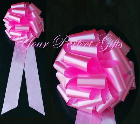 "10 CANDY PINK 9"" LARGE WEDDING PULL PEW BOWS BRIDAL CAKE GIFT BASKET DECORATION PB122"