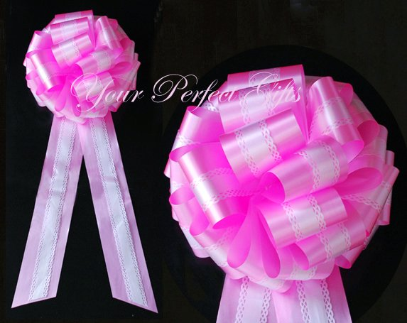 "10 WHITE CANDY PINK TWO LAYER 9"" EXTRA WIDE WEDDING LACE PULL PEW BOW BRIDAL CAKE GIFT  DECORCATION"
