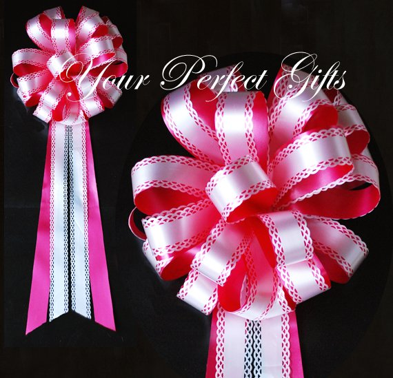 "10 AAPLE RED & WHITE 9"" WEDDING PULL PEW BOWS FOR BRIDAL CAKE GIFT BASKET DECORCATION"