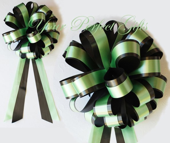 """10 GREEN BLACK 8"""" TWO LAYER WEDDING PULL PEW BOWS FOR BRIDAL CAKE GIFT BASKET DECORCATION"""