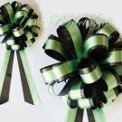 "10 GREEN BLACK 8"" TWO LAYER WEDDING PULL PEW BOWS FOR BRIDAL CAKE GIFT BASKET DECORCATION"