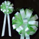 "10 GREEN & WHITE 9"" WEDDING LACE PULL PEW BOWS FOR BRIDAL CAKE GIFT BASKET DECORCATION"