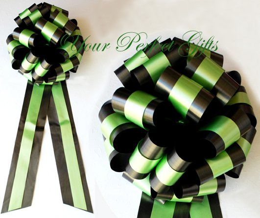 "10 BLACK & GREEN TWO LAYER 9"" EXTRA WIDE WEDDING PULL PEW BOWS BRIDAL CAKE GIFT BASKET DECORCATION"