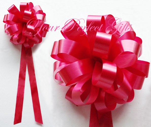 """20 APPLE RED 9"""" WEDDING PULL PEW BOWS FOR BRIDAL CAKE GIFT BASKET DECORCATION"""