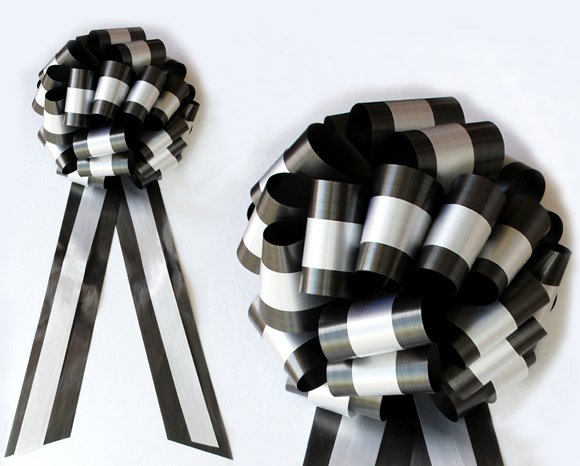 """10 WHITE BLACK  TWO LAYER 9"""" EXTRA WIDE WEDDING PULL PEW BOW BRIDAL CAKE GIFT DECORATION"""