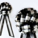 "10 WHITE BLACK  TWO LAYER 9"" EXTRA WIDE WEDDING PULL PEW BOW BRIDAL CAKE GIFT DECORATION"