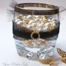 50 ROUND CIRCLE Gold Diamante Rhinestone Crystal Buckle Sliders For Wedding Invitation BK019