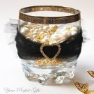 "24 LARGE HEART 1"" Gold Diamante Rhinestone Ribbon Buckle Sliders For Wedding Invitation BK026"