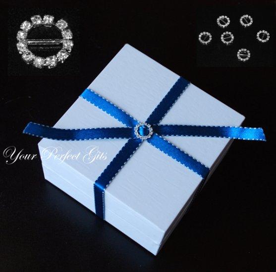 12 ROUND Silver Diamante Rhinestone Ribbon Buckle Sliders For Wedding Invitation BK001