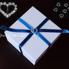 12 HEART Silver Diamante Rhinestone Ribbon Buckle Sliders For Wedding Invitation BK010