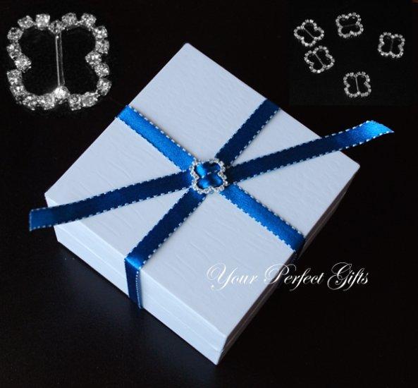 12 BUTTERFLY Diamante Rhinestone Ribbon Silver Buckle Sliders For Wedding Invitation BK079
