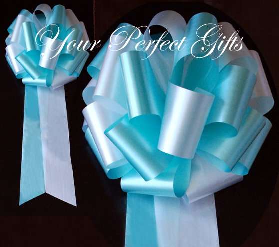 "10 WHITE TEAL BLUE 9"" EXTRA WIDE WEDDING PULL PEW BOWS FOR BRIDAL CAKE GIFT BASKET DECORCATION"