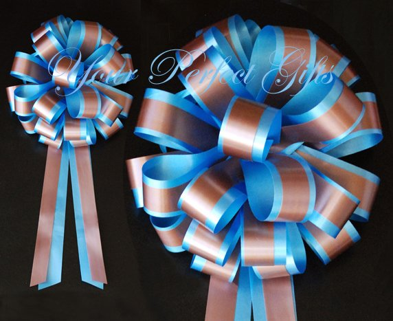 """10 BLUE BROWN 8"""" TWO LAYER WEDDING PULL PEW BOWS FOR BRIDAL CAKE GIFT BASKET DECORCATION"""