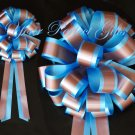 "10 BLUE BROWN 8"" TWO LAYER WEDDING PULL PEW BOWS FOR BRIDAL CAKE GIFT BASKET DECORCATION"