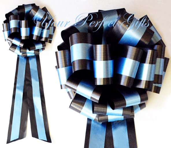 """10 BLACK BLUE  TWO LAYER 9"""" EXTRA WIDE WEDDING PULL PEW BOW BRIDAL CAKE GIFT  BASKET DECORCATION"""