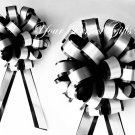 "10 BLACK WHITE 8"" TWO LAYER WEDDING PULL PEW BOWS FOR BRIDAL CAKE GIFT BASKET DECORCATION PB015"