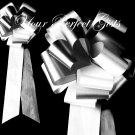 "10 WHITE BLACK 9"" EXTRA WIDE WEDDING PULL PEW BOWS FOR BRIDAL CAKE GIFT BASKET DECORATION PB052"
