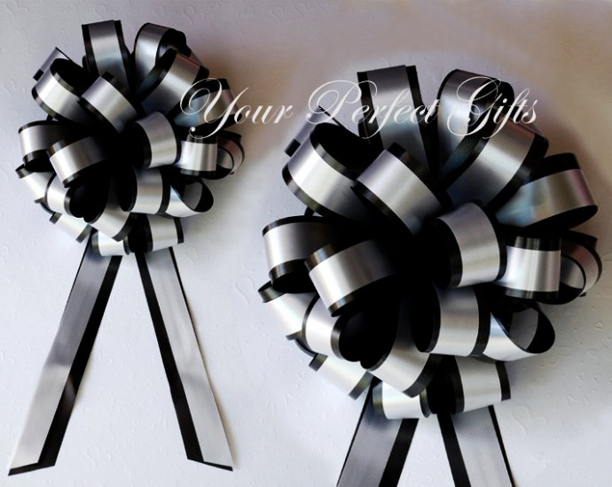 """10 BLACK SILVER 8"""" TWO LAYER WEDDING PULL PEW BOWS FOR BRIDAL CAKE GIFT BASKET DECORCATION PB026"""