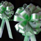 "10 SILVER GREEN 8"" TWO LAYER WEDDING PULL PEW BOWS FOR BRIDAL CAKE GIFT BASKET DECORCATION"