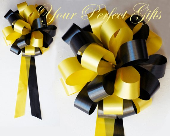 "10 YELLOW BLACK 8"" WEDDING PULL PEW BOWS FOR BRIDAL CAKE GIFT BASKET DECORCATION"