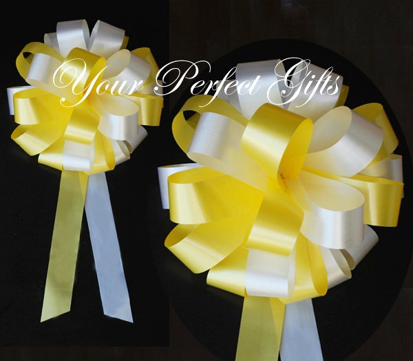 "10 YELLOW WHITE 8"" WEDDING PULL PEW BOW FOR BRIDAL CAKE GIFT BASKET DECORCATION"