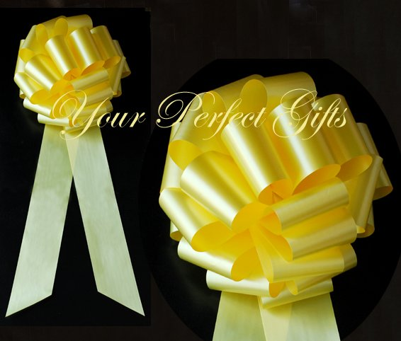 "10 LEMON YELLOW 9"" LARGE WEDDING PULL PEW BOWS FOR BRIDAL CAKE GIFT BASKET DECORATION PB111"