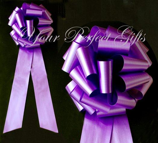 "10 PURPLE 9"" LARGE WEDDING PULL PEW BOWS FOR BRIDAL CAKE GIFT BASKET DECORATION"