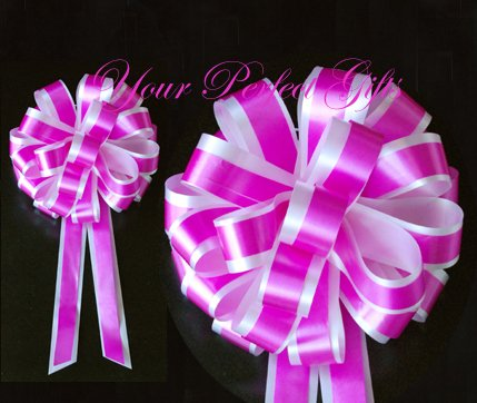 "10 FUCHSIA HOT PINK WHITE 8"" TWO LAYER WEDDING PULL PEW BOWS FOR BRIDAL CAKE GIFT BASKET DECORCATION"