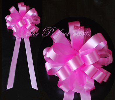 """10 CANDY PINK 9"""" WEDDING PULL PEW BOWS FOR BRIDAL CAKE GIFT BASKET DECORCATION"""