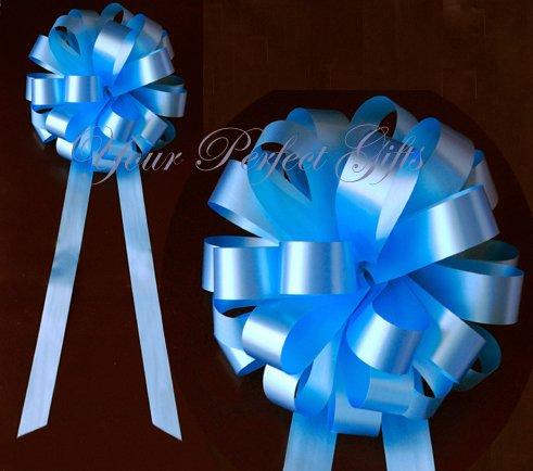 "10 BLUE 9"" WEDDING PULL PEW BOWS FOR BRIDAL CAKE GIFT BASKET DECORCATION"