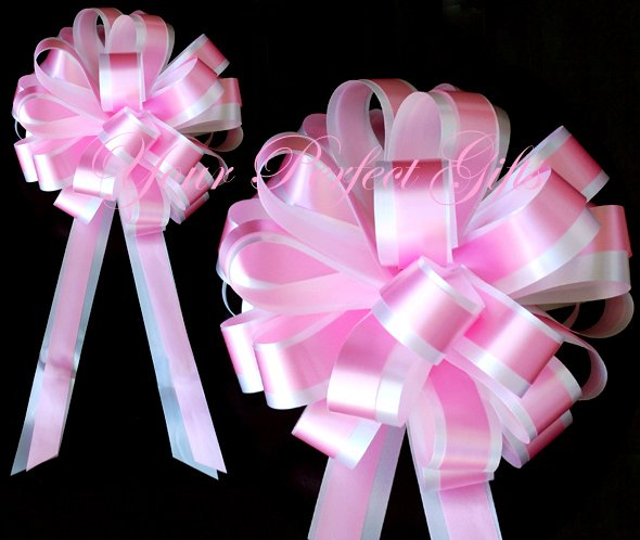 """10 BABY PINK WHITE 8"""" TWO LAYER WEDDING PULL PEW BOWS FOR BRIDAL CAKE GIFT BASKET DECORCATION"""